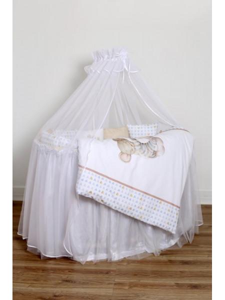 """Комплект для круглой (овальной) и прямоугольной кроватки """"Мышки на облачке"""" арт.6075"""