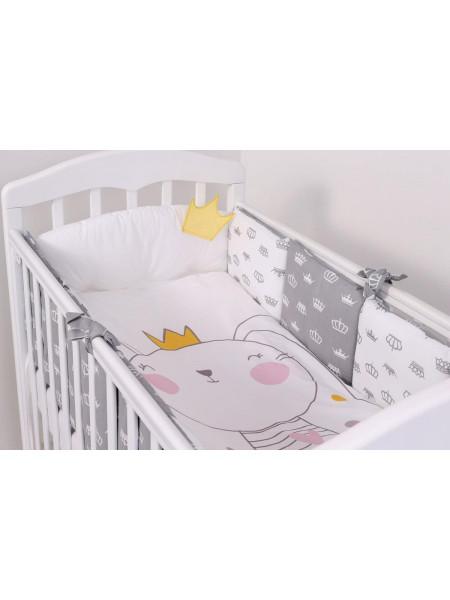 Комплект белья в кроватку Топотушки Зайка с короной 6 предметов