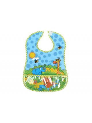 Нагрудник Бусинка на липучке с карманом Веселые животные  1065-1