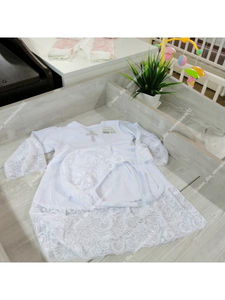 Крестильный набор рубаха с чепчиком.